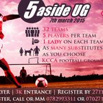 Are your teams ready? #3Daysleft #5ASIDEUG happening 7th March at KCCA grounds powered by @40days_40smiles http://t.co/XOfYiW2luT
