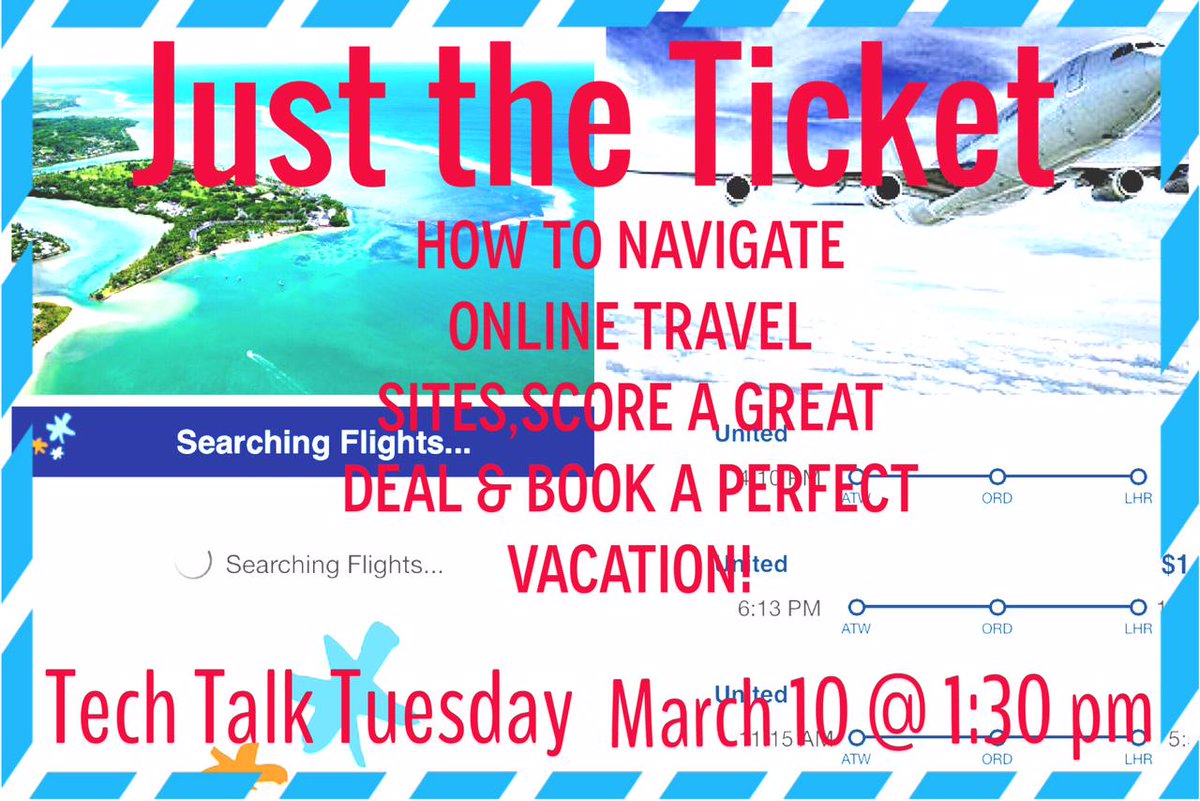 Neenah Library (@neenahlibrary): Dreaming of sunshine? Attend #TechTalkTuesday & learn tips and tricks for booking the perfect getaway online! http://t.co/4bh8QZiPpO