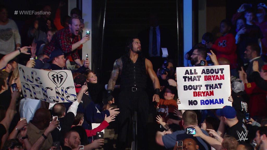 Haw! Guess @WWERomanReigns has a new theme to consider. @Meghan_Trainor #RomanvsBryan #WWEFastLane #WWE http://t.co/yRIseLHL0N
