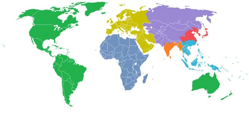 The World Divided Into 7 Regions, Each with a Population of 1 Billion. Map collection: http://t.co/6rsWdqtFzm http://t.co/34EQeEXyQS