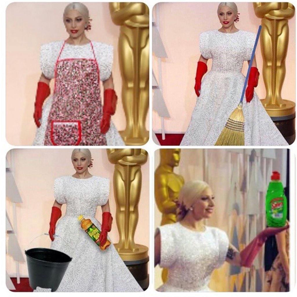 Lady Gaga...ready to clean at the Oscars #Oscar2015 #OscarsRedCarpet http://t.co/EwWpLEdeaN
