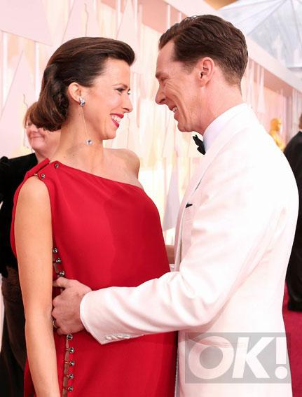 Benedict Cumberbatch has a cute PDA moment with his wife at the Oscars. See more here: