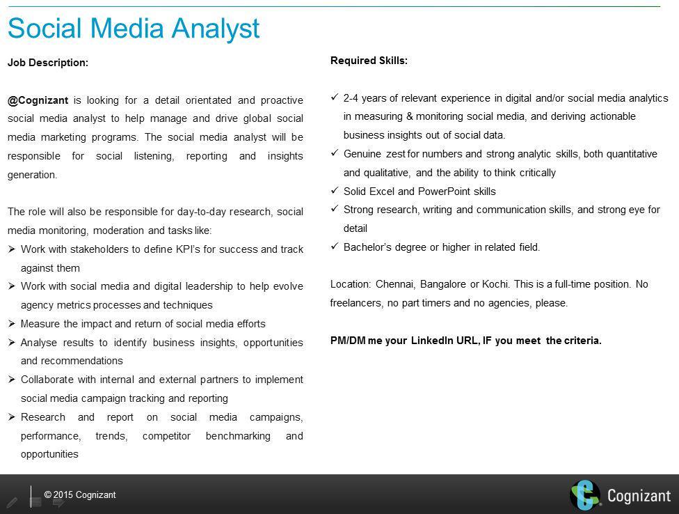 We're hiring a #SocialMedia Analyst @Cognizant. #jobs #india #SocialMediaJobs http://t.co/ziuLkhNyMx