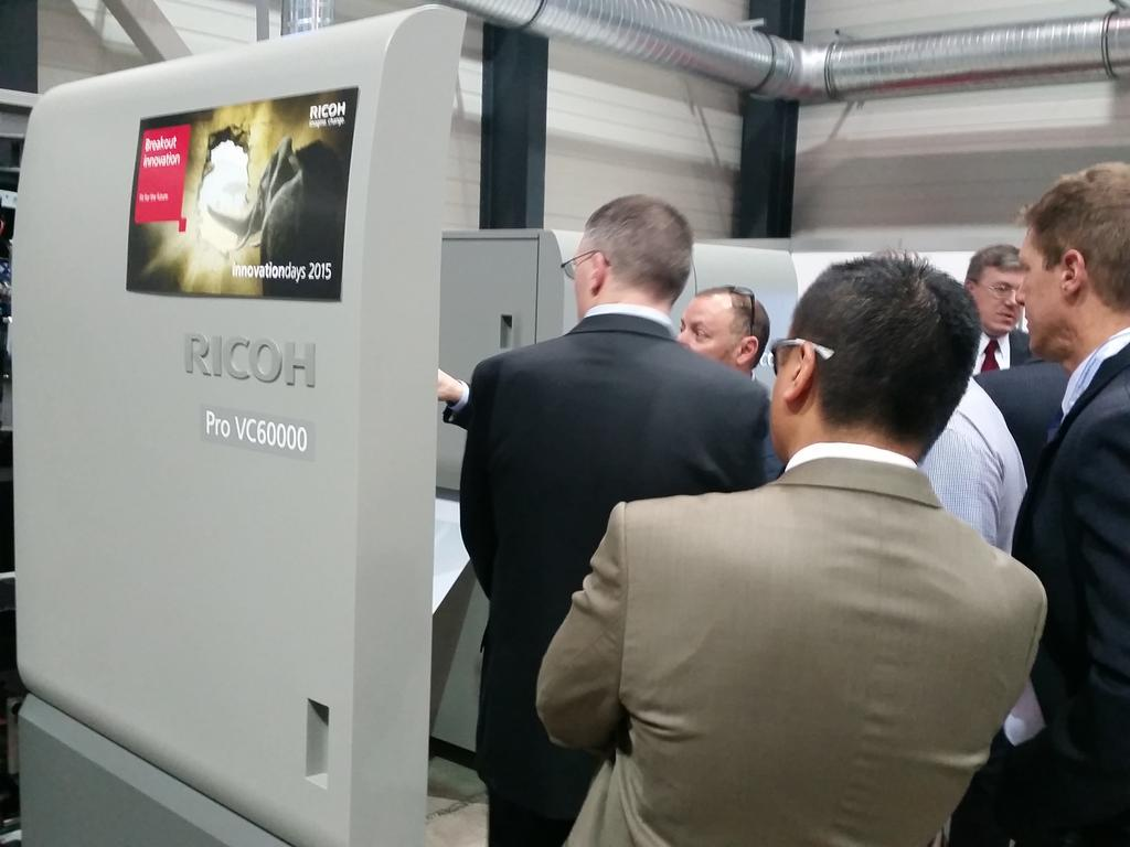Today is the 1st public showing of our new inkjet system, Ricoh Pro VC60000. Have you had your demo? @RicohEUBDriver http://t.co/aIEcAgtWme