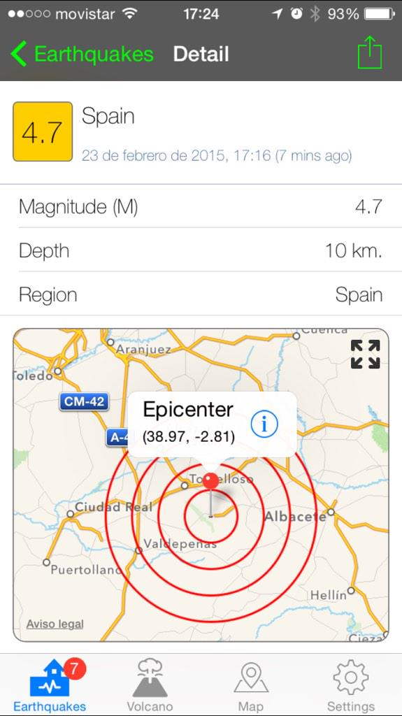 Parece que 4,7 a 10 km de profundidad #Terremoto #fb http://t.co/DmPfFSwGkD