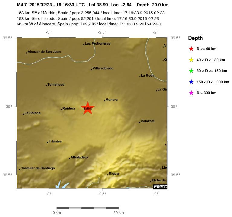 El epicentro del terremoto está entre Ruidera (Ciudad Real) y Munera (Albacete). Aquí el mapa: http://t.co/nvTn3kTKwd