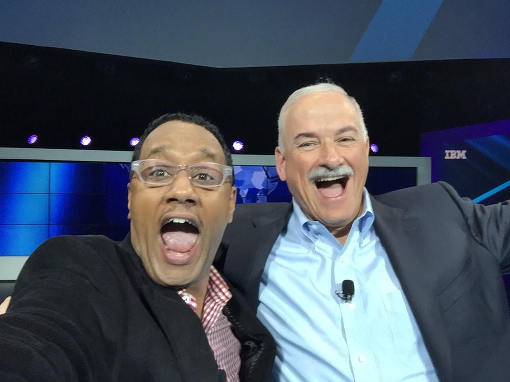 Selfie battles at #ibminterconnect - pic of me w/Sr. VP of IBM Robert LeBlanc on stage! http://t.co/RLMk5fgYud