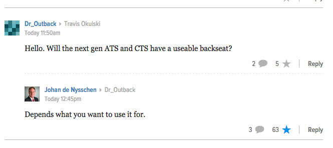 Best. Answer. Ever. #Cadillac #JohandeNysschen http://t.co/O3cJIOY7le