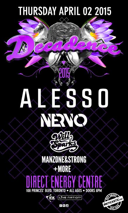April 2nd we're celebrating #DECADENCE w/ @Alesso​, @nervomusic ​& @WillSparks​! Tix on sale tomorrow at 12pm EST. http://t.co/L718kxEy3g