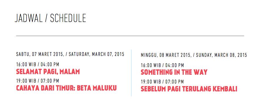"""Jadwal pemutaran film """"Indonesia dalam Empat Layar"""" #FilmNasional http://t.co/7N1O8lW3Jj"""