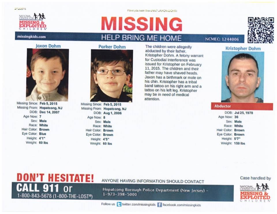 Park & Jax abducted by father. http://t.co/byJIWZQLoI #missing #Dohmboys http://t.co/6pBi5hjxIe http://t.co/wbpYFJrW3F Possibly headed west.