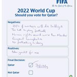 A reminder of some of the evidence that led to arrest of FIFA officials: a voting form for whether to choose Qatar http://t.co/L9hGuxgkwQ