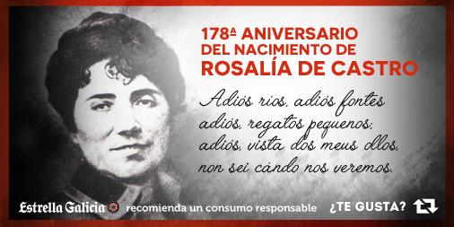 Hoy brindamos por la mujer que supo definir 'a morriña galega' mejor que nadie: Rosalía de Castro. http://t.co/XYcvyPdcNo