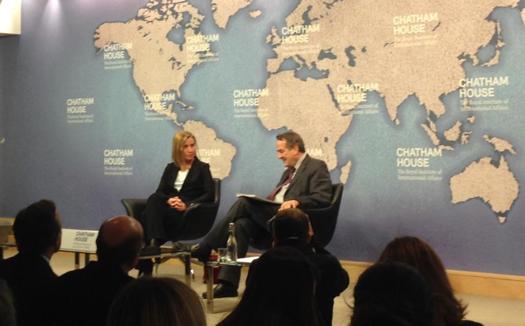 The first big public speech in London by EU foreign policy chief Federica Mogherini at @ChathamHouse. #CHEvents http://t.co/a1ITS37pPv