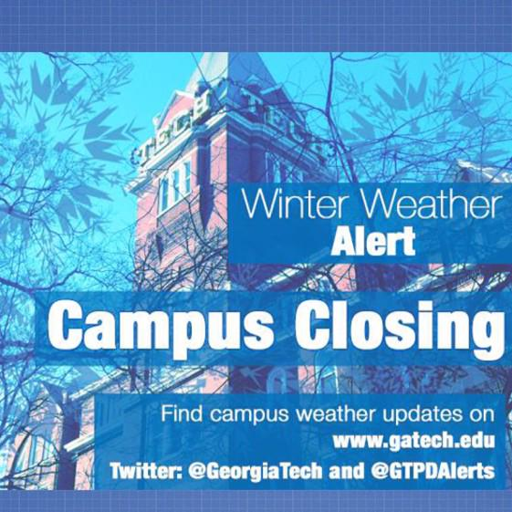 Georgia Tech will be closed Wednesday due to winter weather. Updates on http://t.co/Pj9BqU4Dcv http://t.co/0zlA4cLxdV