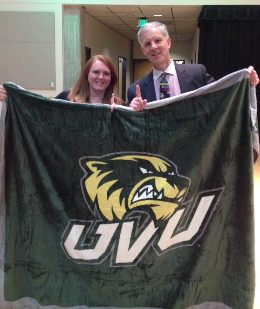 Me & @JohnJSeng CEO of @SpectrumScience with his new UVU blanket :) Thank you for speaking at @PRElevated #PRElevated http://t.co/byIHrgN8YP
