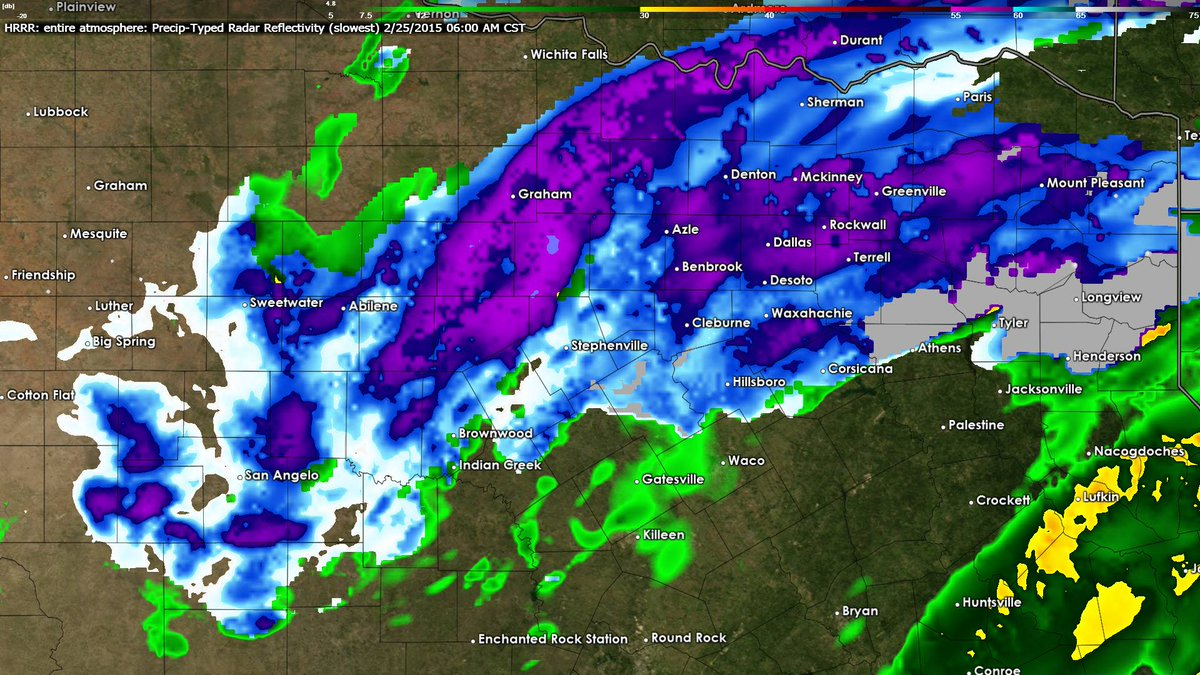 Here's what one high resolution model thinks the radar will look like around 6 AM Wednesday. Blue is snow. #dfwwx http://t.co/uzb2ImRQMv