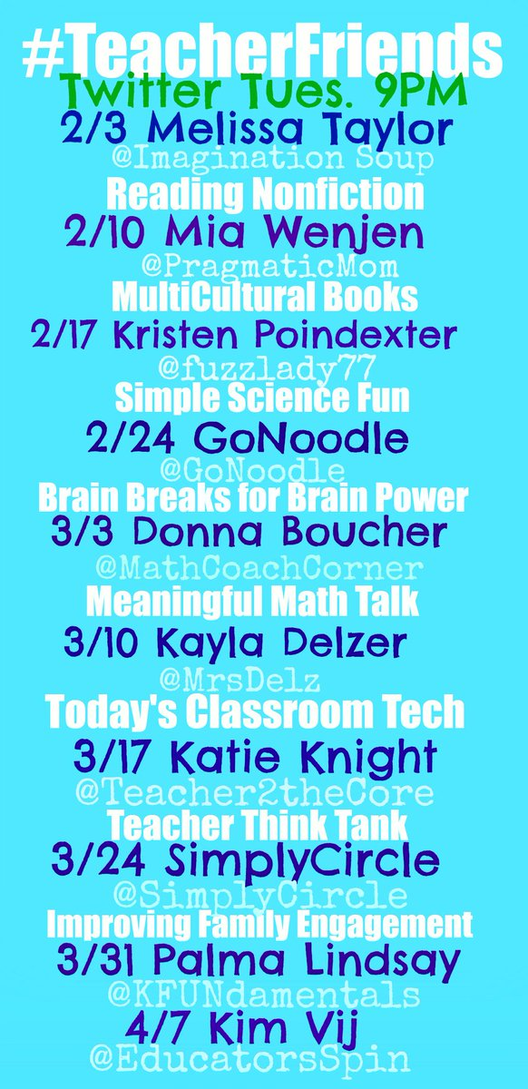 #TeacherFriends our upcoming guests! Please Retweet + bring friends! http://t.co/SFwETppbfk