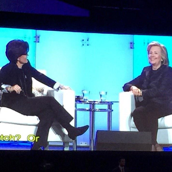 ".@karaswisher asked @HillaryClinton the big question ""iPhone or Android?"" HC's reply: ""iPhone... and @BlackBerry!"" http://t.co/SaZSeRWmrV"