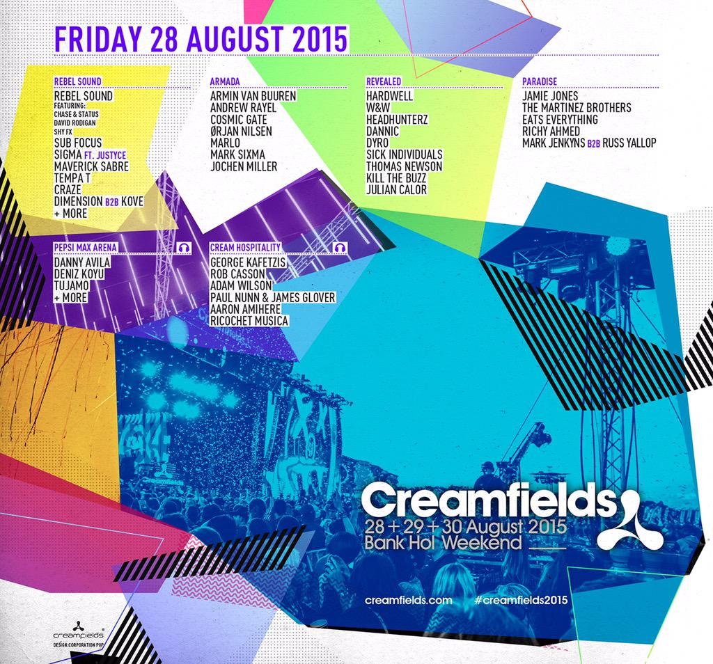 Drum roll please…Here it is! The Line Up for #Creamfields2015! http://t.co/CxzhJp3fMk