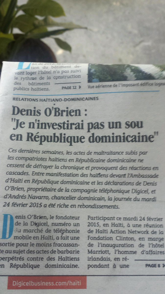 Finally, someone who hasn't been bought by the Dominican Republic & isn't afraid to speak out #DenisO'Brien #Digicel http://t.co/q8GggjKKv9