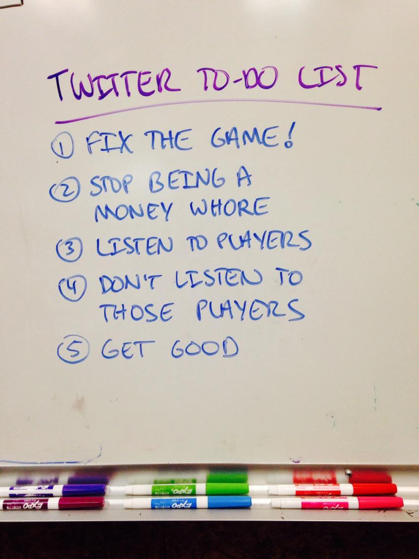 My current to-do list on the white board, courtesy of my biggest fans on Twitter. http://t.co/rKBKJOIzWn