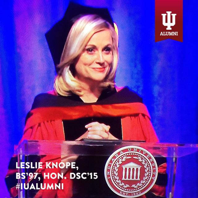 Congrats to @ParksandRecNBC's Leslie Knope on receiving an honorary doctorate from @IndianaUniv last night! #IUalumni http://t.co/9mIIw6RRXr