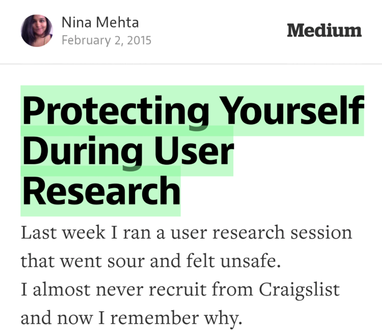 """Protecting Yourself During User Research"" —@ninamehta https://t.co/C8zopTx8Xd http://t.co/N6dkytsWMn"