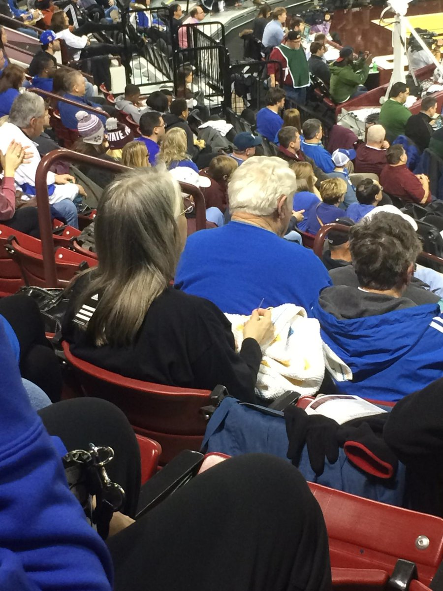 @bustedcoverage Lady at Miss St / UK game knitting. Also, her pullover still has the tag on it. http://t.co/oQvaRmpfeP