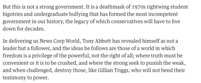 Absolutely blistering attack by Richard Flanagan on the govt's treatment of Gillian Triggs http://t.co/sVp00a2TDO http://t.co/IYGkMfleVq