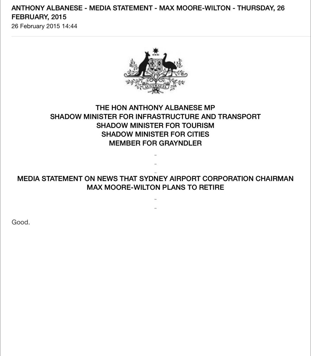 Is the best press release ever issued? @alboMP http://t.co/MtK82iEg6u