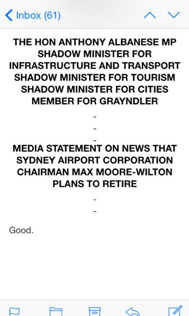 I think @AlboMP just won the prize for best press statement. Ever. http://t.co/JMljh3Qb6m