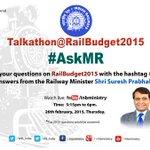 PIB_India #UHF RT MIB_India: #रेलबजट पर RailMinIndia मंत्री श्री sureshpprabhu के लिए सवाल ट्वीट करें, हैशटैग #Ask… http://t.co/zCB6jTYQQw
