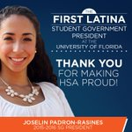 History was made at @UF last night. Congrats to Miss Padron-Rasines, the first Latina @UF_SG President. #GatorNation http://t.co/FMlebiGaZ7