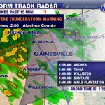 Severe T-Storm Warning for wind damage #Alachua Co (incl #Gainesville) until 2am. Were live @ http://t.co/D77z6o6dCm http://t.co/l14Idxl2TY