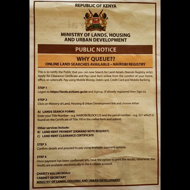 You can do online search for land in Nairobi. http://t.co/UzfIeNs1N3 http://t.co/NHoDMkZABP http://t.co/BciljcTzKv