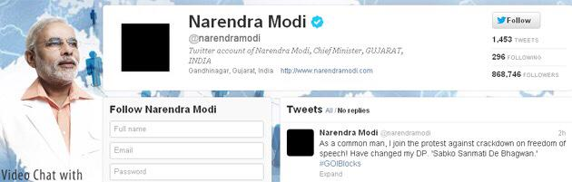 Remember 2012 when @narendramodi changed his DP to black to protest Internet censorship? #No66A #NoSecretNetBlocking http://t.co/JSPOjvApf7