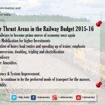 Nine major thrust areas in #RailBudget2015 presented by Shri @sureshpprabhu  #रेलबजट http://t.co/ePfEN6Cf1l