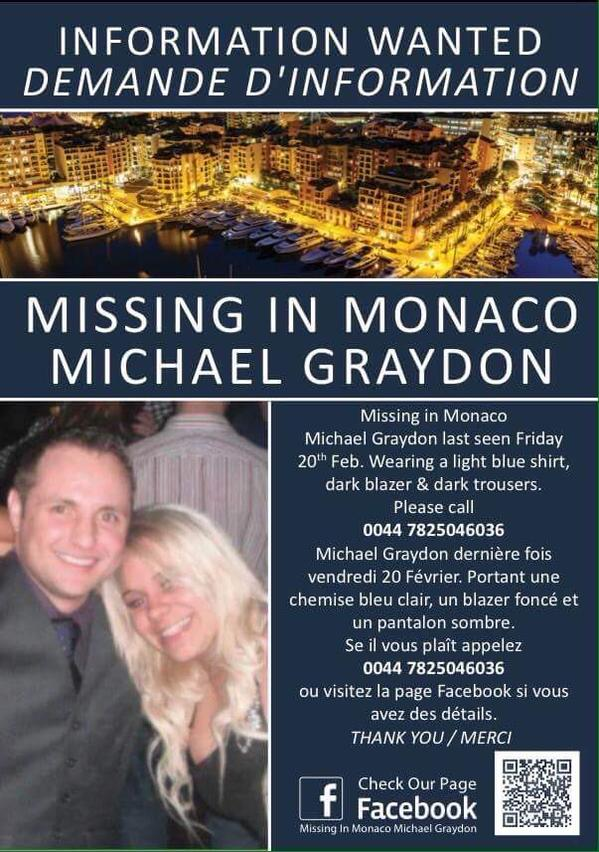 @RonLewisTimes Please RT to help find Bristol Boxing Promoter missing in #monaco #FindMichaelGraydon http://t.co/sFc9LwZzqP