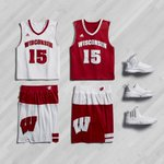 """FIRST LOOK: Wisconsin basketball """"March Madness"""" uniforms with Rose, Lillard & Wall shoe options http://t.co/icv7IkAkS6"""