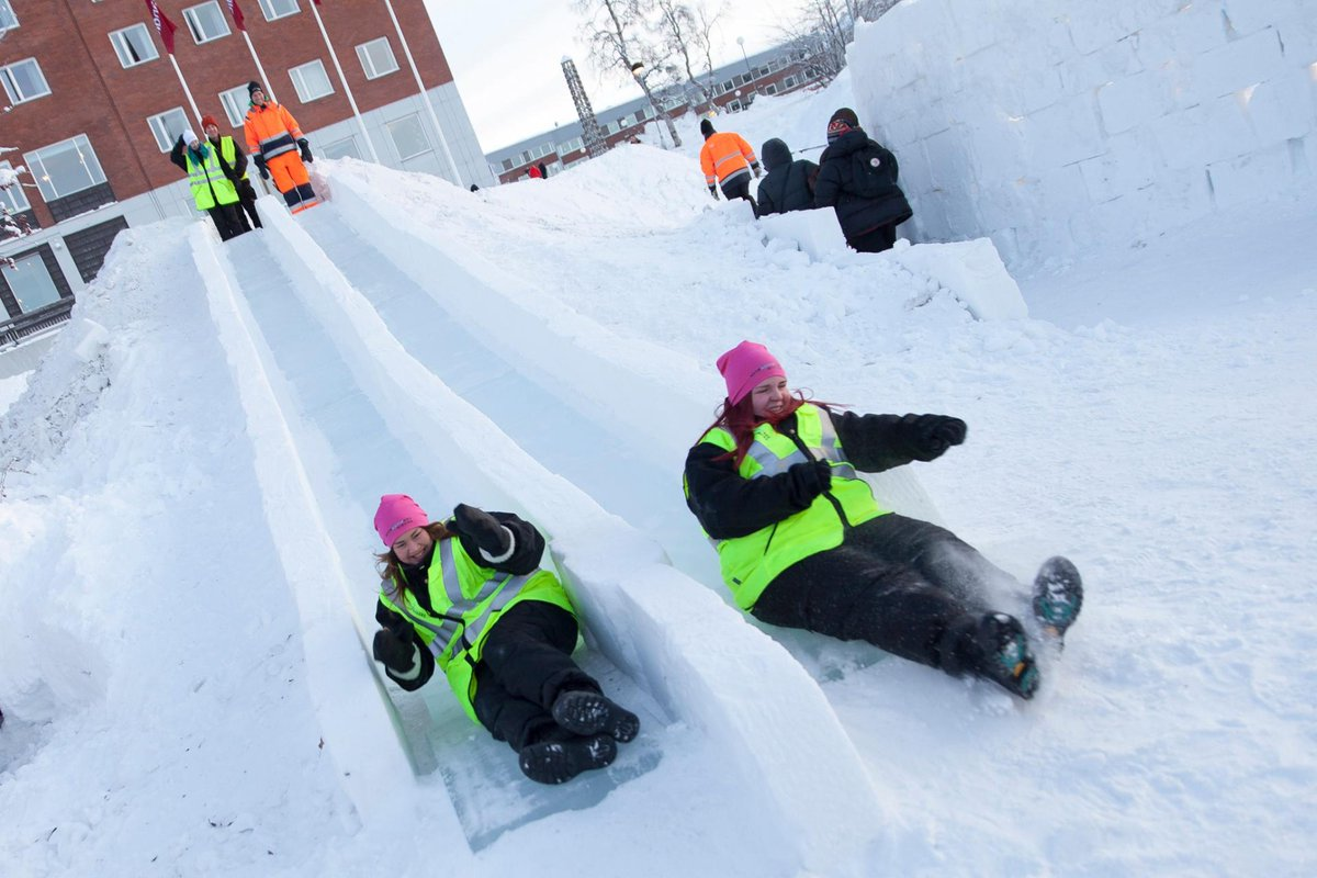 A snow & ice playground in Sweden … until April?! Count us in. Design by @PinPinStudio