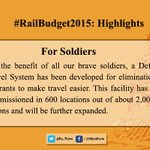 Some Highlights of the #RailwayBudget2015 important for peoples perspective: 1/6 http://t.co/V1udsk3kQP