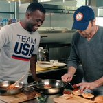 Soul food inspired chicken sliders. We're drooling.   Thanks @Blake_Leeper for #CookingWithTeamUSA & @BrianBoitano!