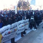 Student led anti-racism march at the Leg. Theres hundreds of them!!! #cbcmb http://t.co/7oHk3RUcBi