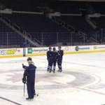 Newcomer Jiri Tlusty joined the morning skate late, but in time to chat with line mates Scheifele & Stafford.#cbcmb http://t.co/FFFAPXbef6
