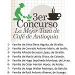 Las 10 primeras familias en nuestro concurso Taza de Café de Antioquia. Felicitaciones. http://t.co/TmEHZ0ymcx