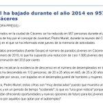 El #paro juvenil ha bajado durante el año 2014 en 957 personas en la ciudad de #Caceres #Hacemos #Extremadura http://t.co/61LgstK6l5