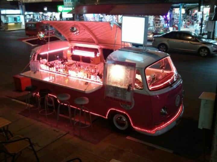 #Volkswagen​ busses converted into bars; the #FoodTruck equivalent of a #Cocktail bar. What a great idea! #Thailand http://t.co/y4KxLALHcW