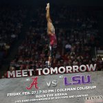Get ready to ROCK THE ARENA Friday night for a showdown between No. 5 @BamaGymnastics & No. 2 LSU! #RollTide http://t.co/NWAPZABrbJ