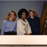 A 1982 photo just surfaced in my office  susan Magrino left, the lady in white , host on a tv show in Baltimore Who?